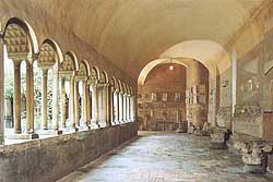 Within the Basilica, the cloister was built by a famous Roman stonecutter, Pietro de Maria, in the early thirteenth century in honour of his martyred patrons. Image courtesy of Initaly.co