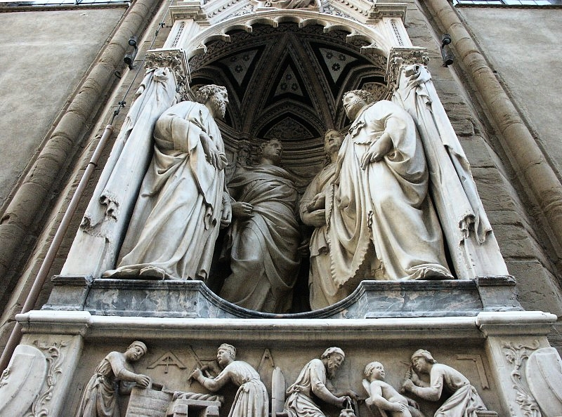 Nanni Di Banco's depiction of the Four Crowned Martyrs which sits in the Museum of Orsanmichele, Florence, Italy. Interesting to note here is the smaller plinth below them showing five figures surrounded by masonic symbology. Nanni di Banco was the son of a stonemason, Antonio di Banco.