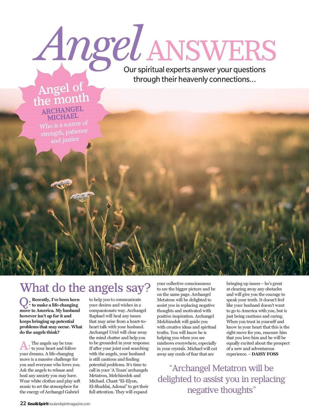 Angel Answers - Soul & Spirit November 2017 — Daisy Foss