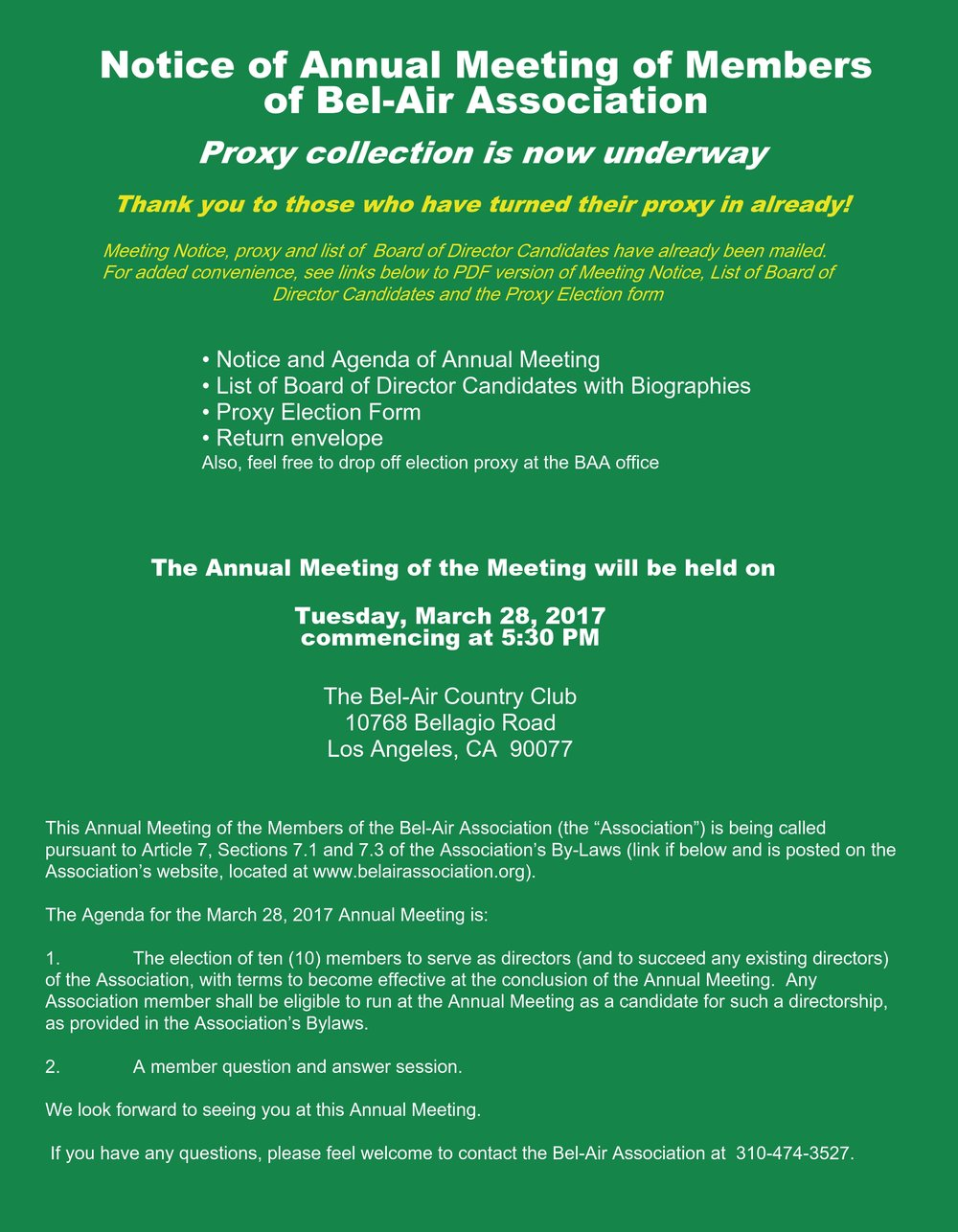 BAA Annual Meeting and Election on March 28th - send in your proxy