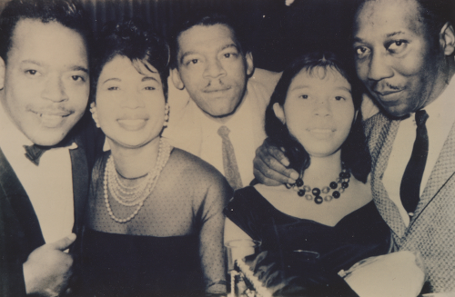 James Cotton,  Mattie, Little Walter, Unknown, & Muddy Waters.  Gift from Mattie (Little Walter's Wife) Photo by Sam Lay