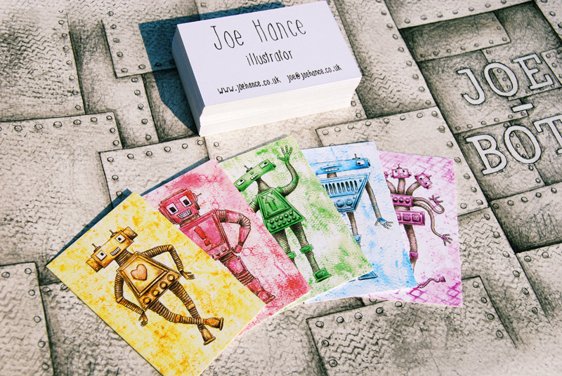 Biz card envy. Nice cards, Joe!    joehance :     Here are my business cards! - These are characters from my little JOE-BOTS book if you haven't seen it!