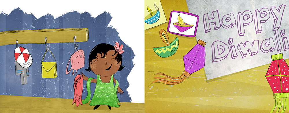 A spread from  Let's Celebrate Diwali!