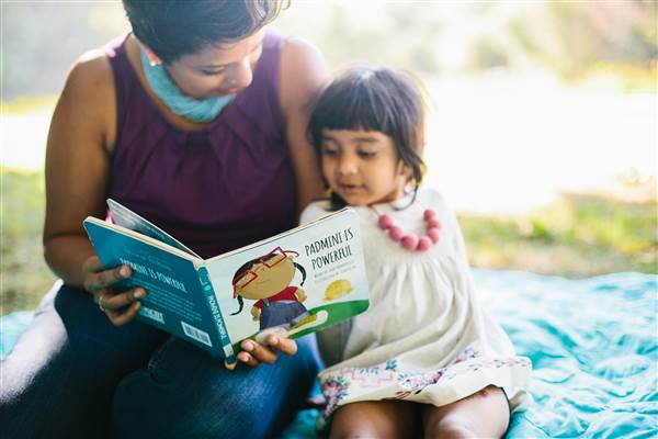 "Sailaja N. Joshi, founder of Bharat Babies, reads ""Padmini is Powerful"" written by Amy Maryville and illustrated by Tim Palin from the publishing company's collection."