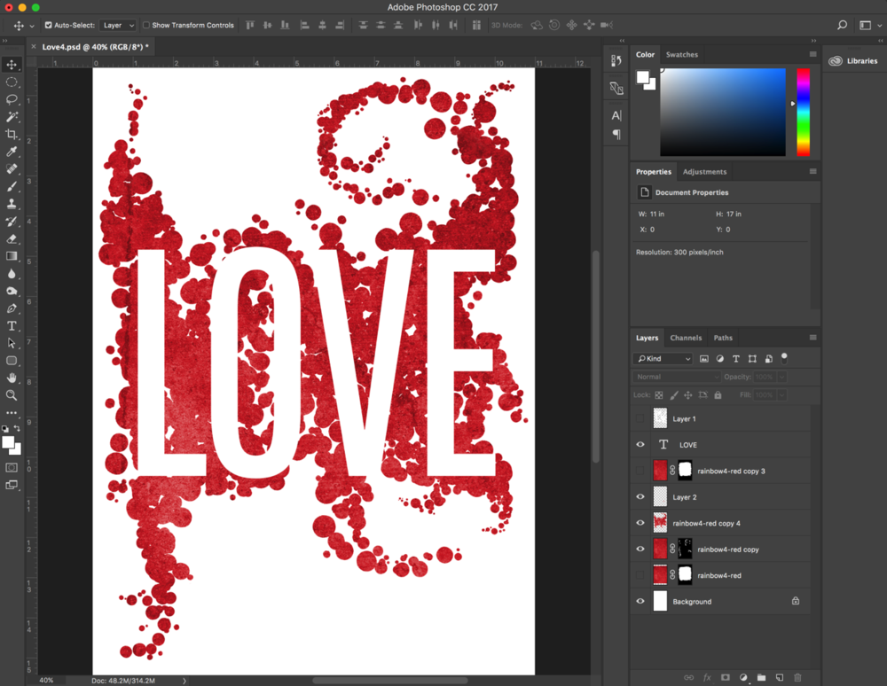 "Version 2 of the ""LOVE"" art evolved quickly. The first one just didn't come together for me."