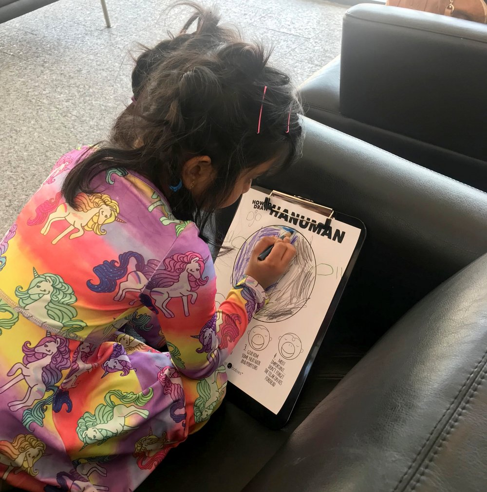 The one and only OJO drawing her pal Hanuman! Ssshhhh, Ojo, MAY have been the inspiration for the Bharat Babies first main character, Harini.