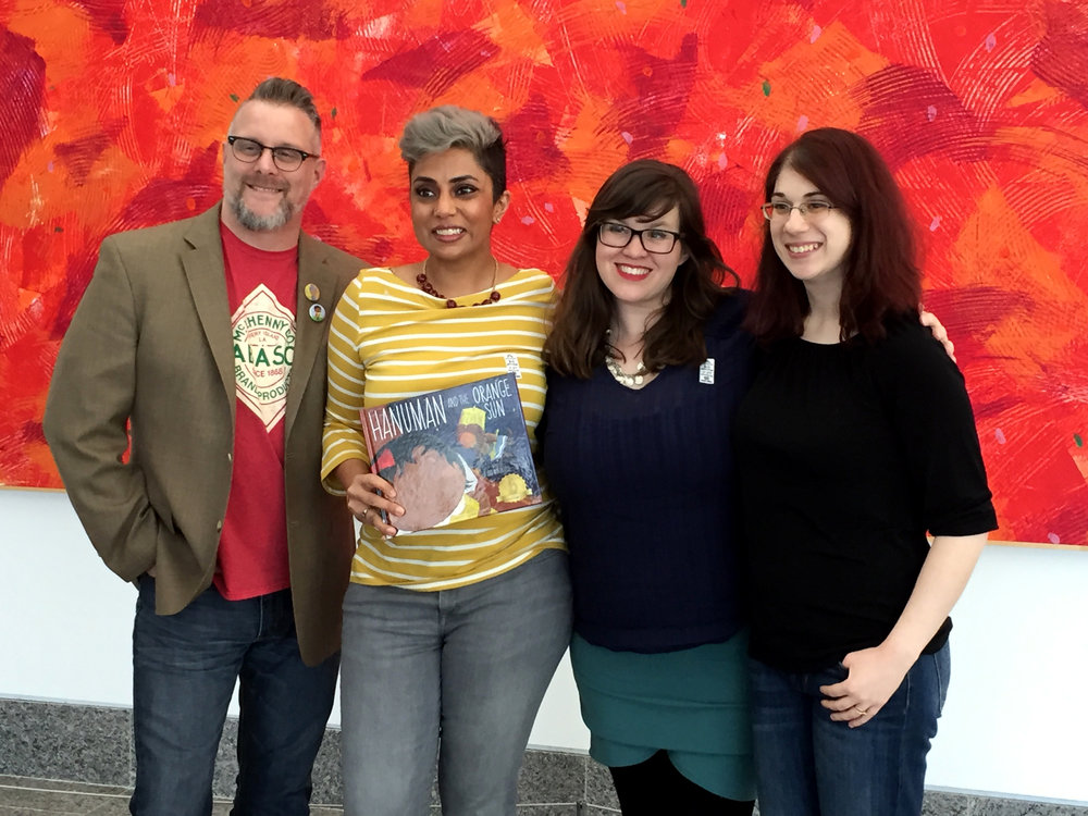 "A few ""Bharat Babies"": Me, Sailaje Joshi (our fearless leader and the visionary making books with diversity happen, Amy Maranville (The brilliant author), and Megan Boshuyzen (The one that make so much happen)"