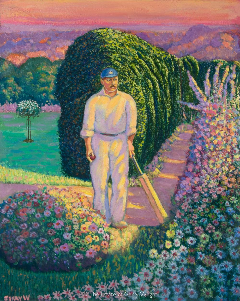 Cricketer in garden