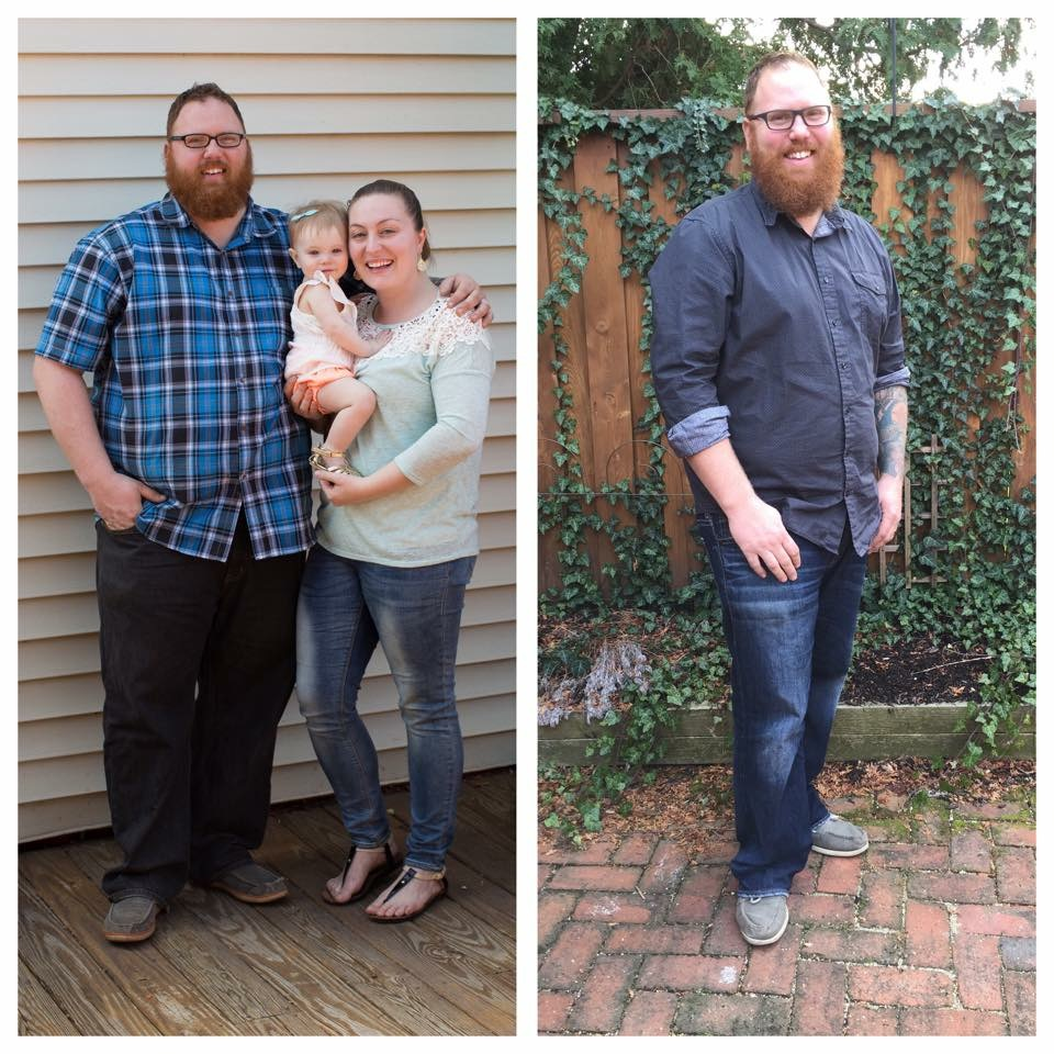 Matt lost 50 pounds in the first challenge. He's lost another 15 since this photo on the right was taken.