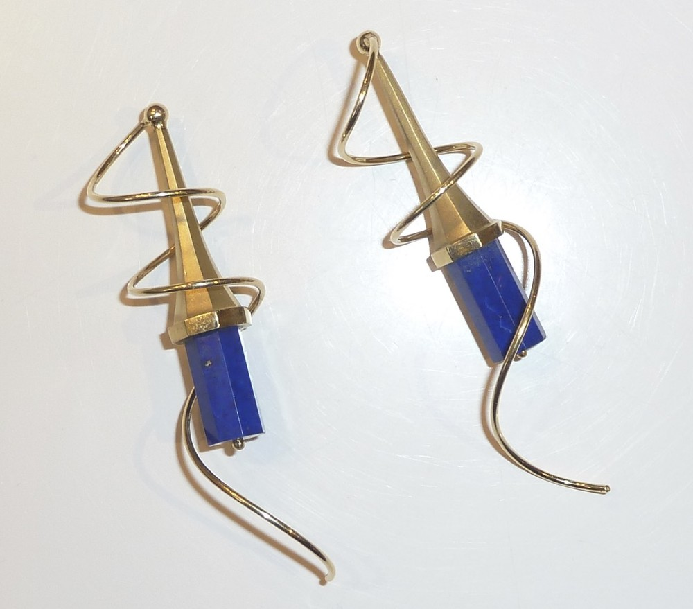 Earscrews, arcanums - 18k & Afghani Lapis Lazuli cut in Germany. $2950.jpg
