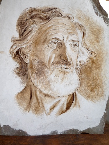 Walter the Farmer, fresco on stone.