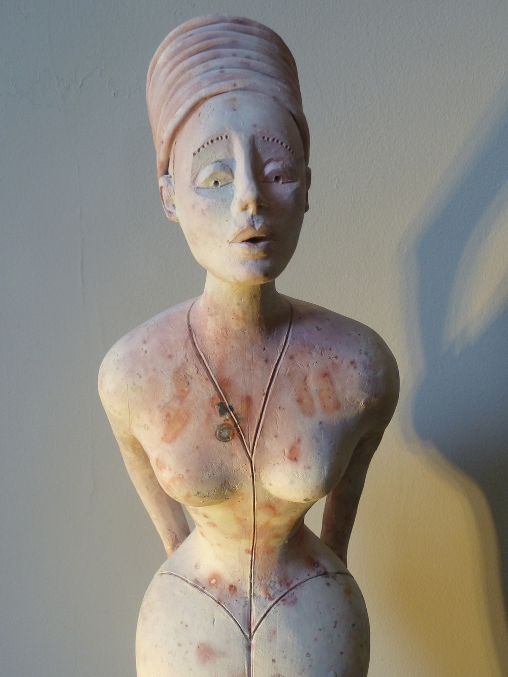 "Oh My! saggar fired earthenware, 26""x5""x5"", $1,400."