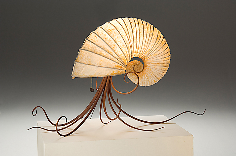 Cephalopod #4, fossilized ammonite, bamboo, hickory, & unry paper. $4,000. Available at gallery.