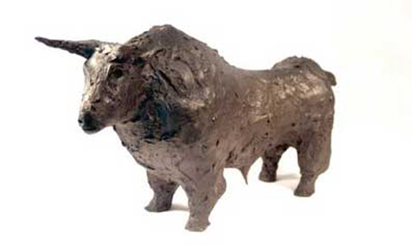 "Bull, limited edition bronze, 6"" x 16"" x 9"", $1,400."