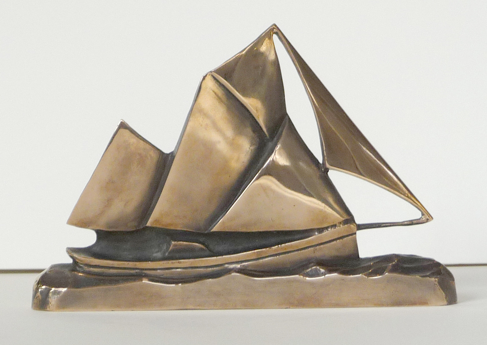 "English Trawler, bronze. 8""x11""3"". $2,200."