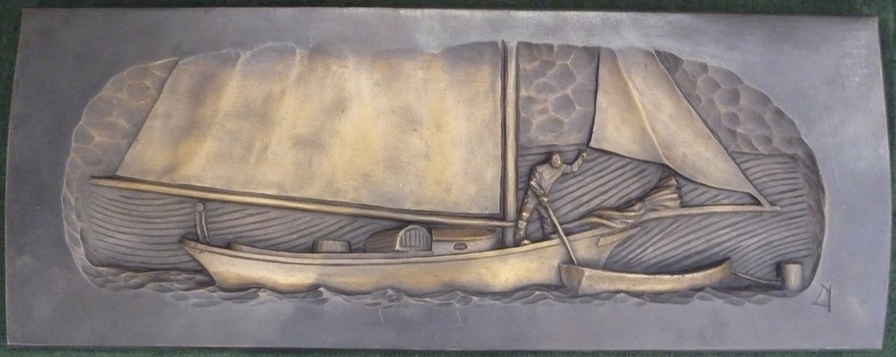 "Friendship Sloop on Mooring, bronze. 11""x29"". $4,200."
