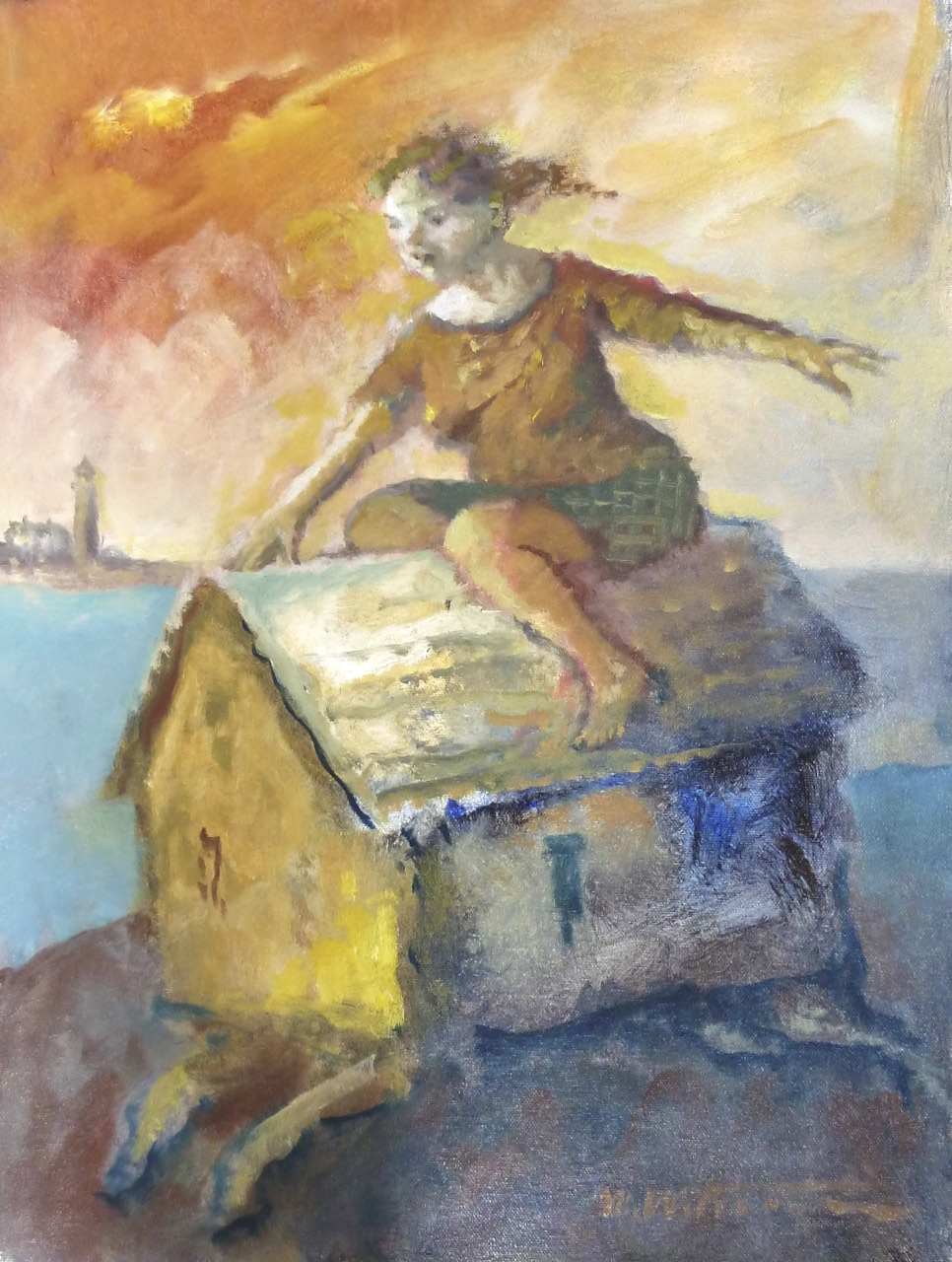 "Riding Her House, oil on canvas. 19""x14"". $3,800."