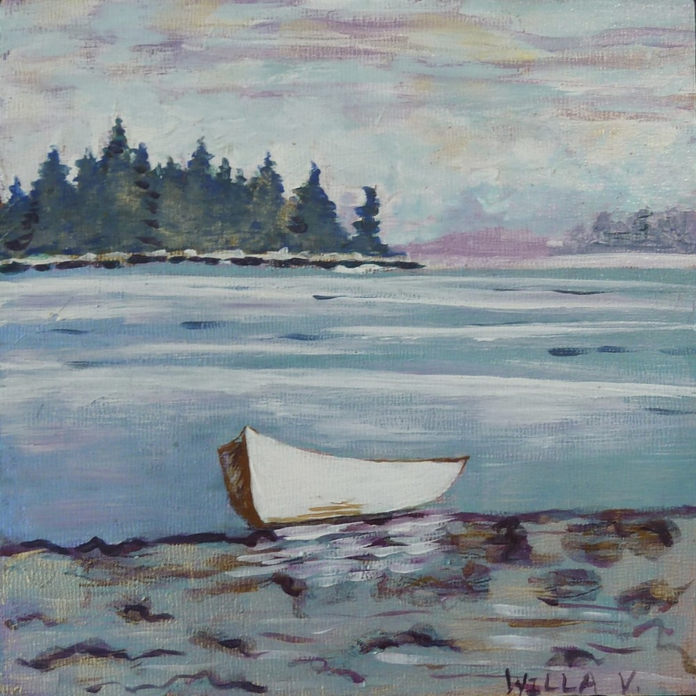 "Row Boat At Rest, acrylic on panel. 8""x8""."
