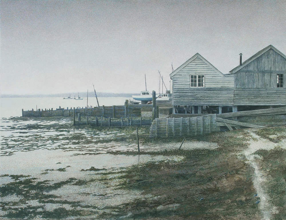 """Oyster Sheds, egg tempera on panel. 19""""x24"""". $33,500."""