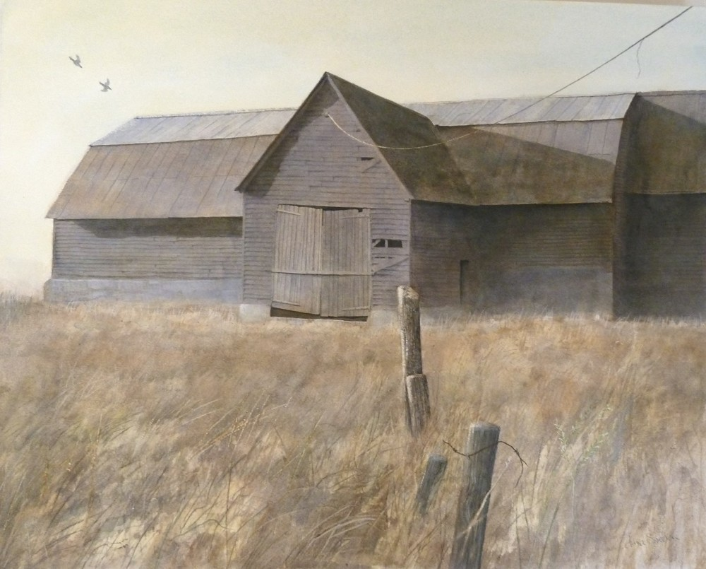 """Tarred Timber Barn, watercolor on paper. 17""""x22"""". $6,500."""