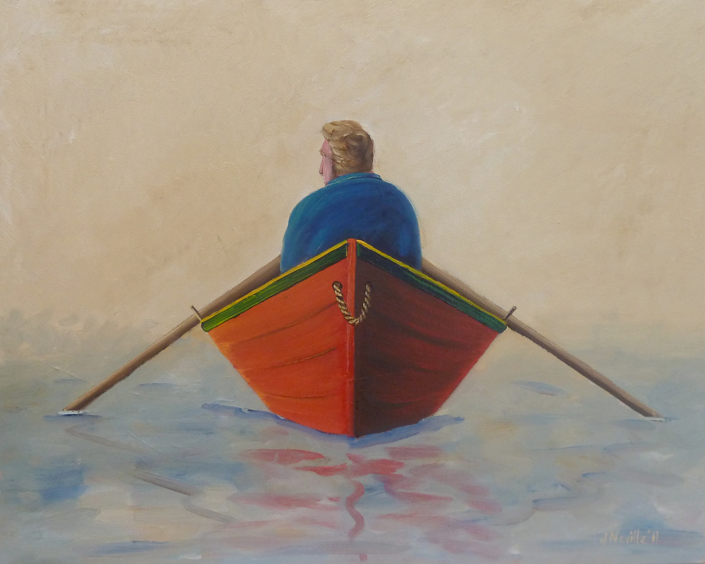 """Tom Rowing, oil on canvas. 16""""x20""""."""