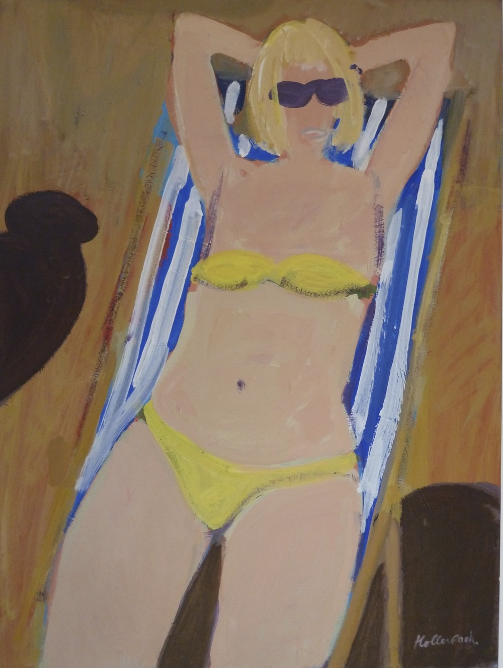 "Woman in Yellow Bikini, acrylic on panel. 40""x30"". $7,500."