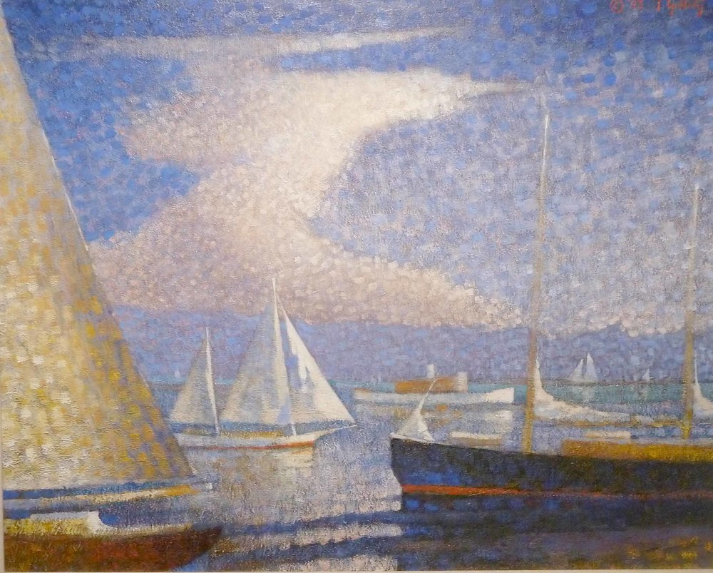 "Schooner Days, oil on canvas. Framed, 33""x39""."