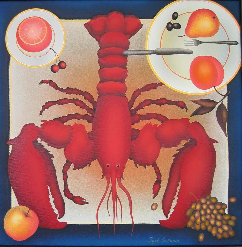 "Lobster with Fruit, acrylic on canvas. 16""x16""."