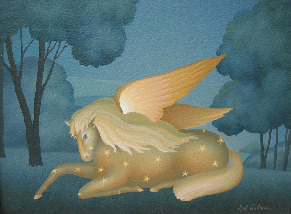 "Pegasus, acrylic on canvas. 13""x10""."