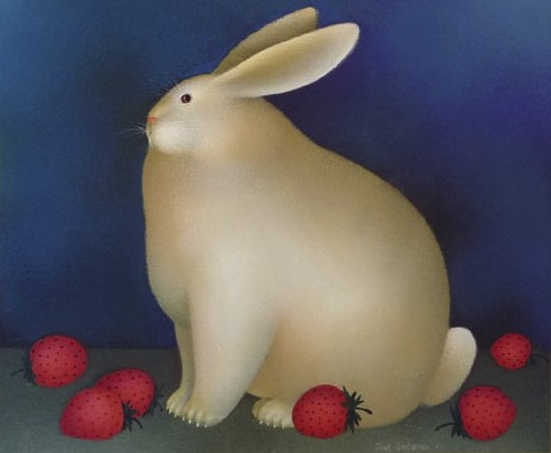 Rabbit with Strawberries, SOLD.