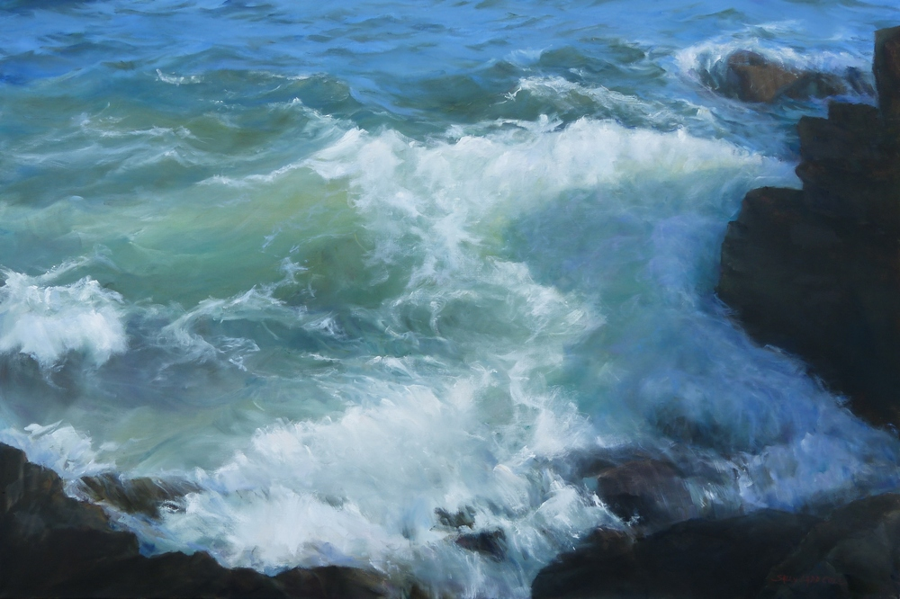 """In the Shadow of a Great Rock, oil on canvas. Framed 39""""x57""""."""