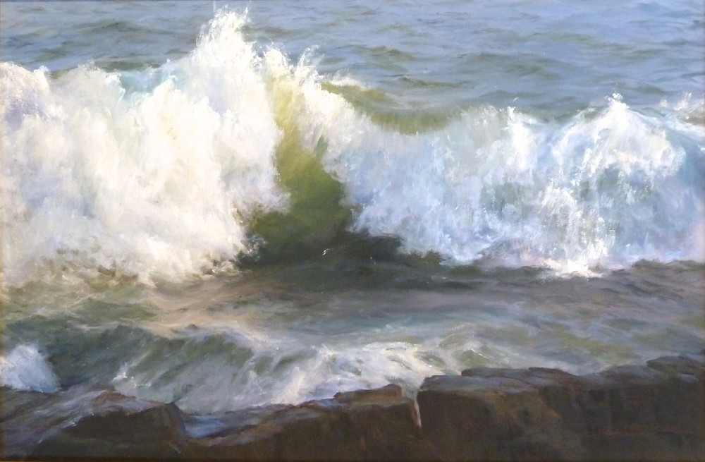 "Wave Coming Together, oil on canvas. 20""x30""."