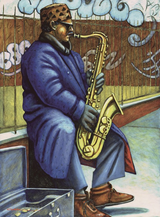 "Horn Player, oil on masonite. Framed 50""x37"". $8,000."