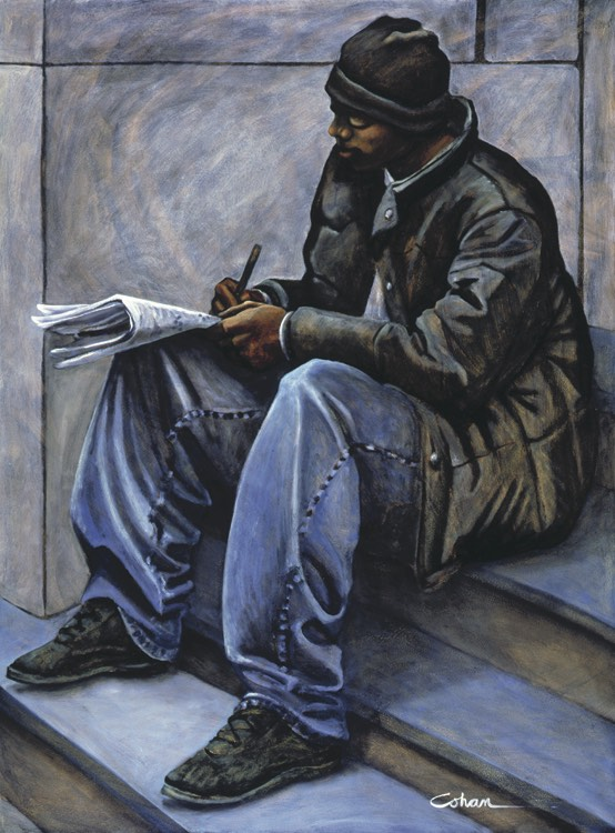 "Man on Steps, oil on masonite. Framed 50""x37""."