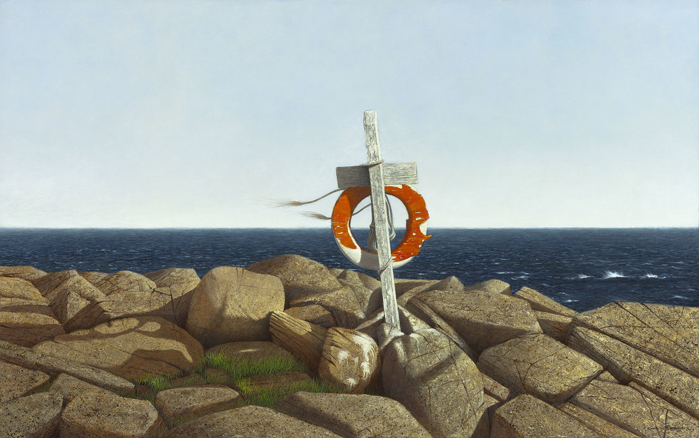 "Monhegan Lifeline, acrylic on panel. Framed, 28""x42""."
