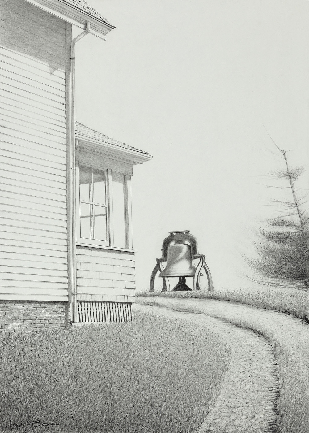 "Monhegan Fog Bell (Study), graphite on paper. Framed 31""x24""."