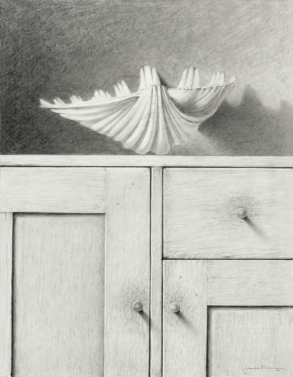 "White Shell (Study), graphite on paper. Framed 25""x21""."