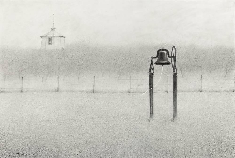 "Shaker Bell Sabbathday Lake (Study), graphite on paper. Framed 27""x37""."