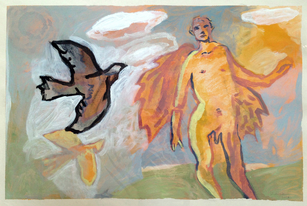 "Icarus (Before the Fall), acrylic on paper. 22""x29"". $1,800."