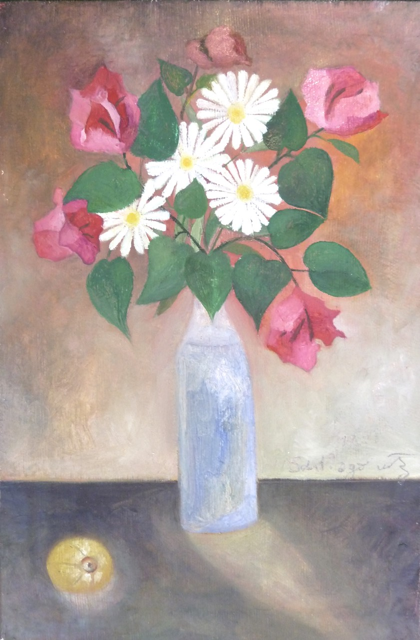 """Rose and Lemon, oil on canvas. 8""""x12"""". $450."""