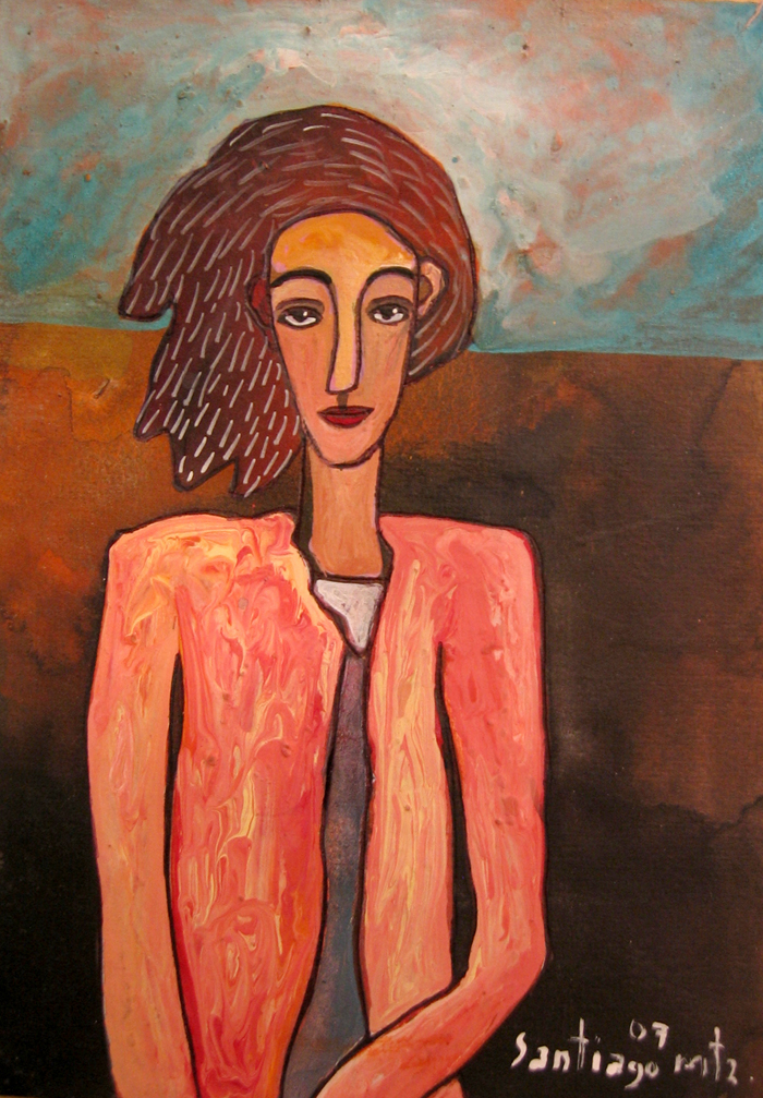 """Welcoming Woman, acrylic on paper. 4""""x6"""". $500."""