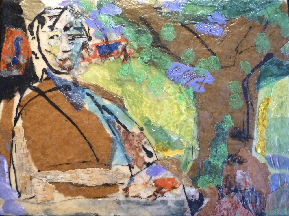 "Man in His Garden, encaustic on panel. 8""x6"". $500."