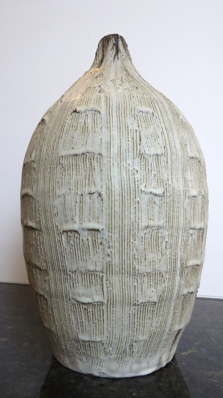"White Vessel, ceramic. 18"" tall. $900."