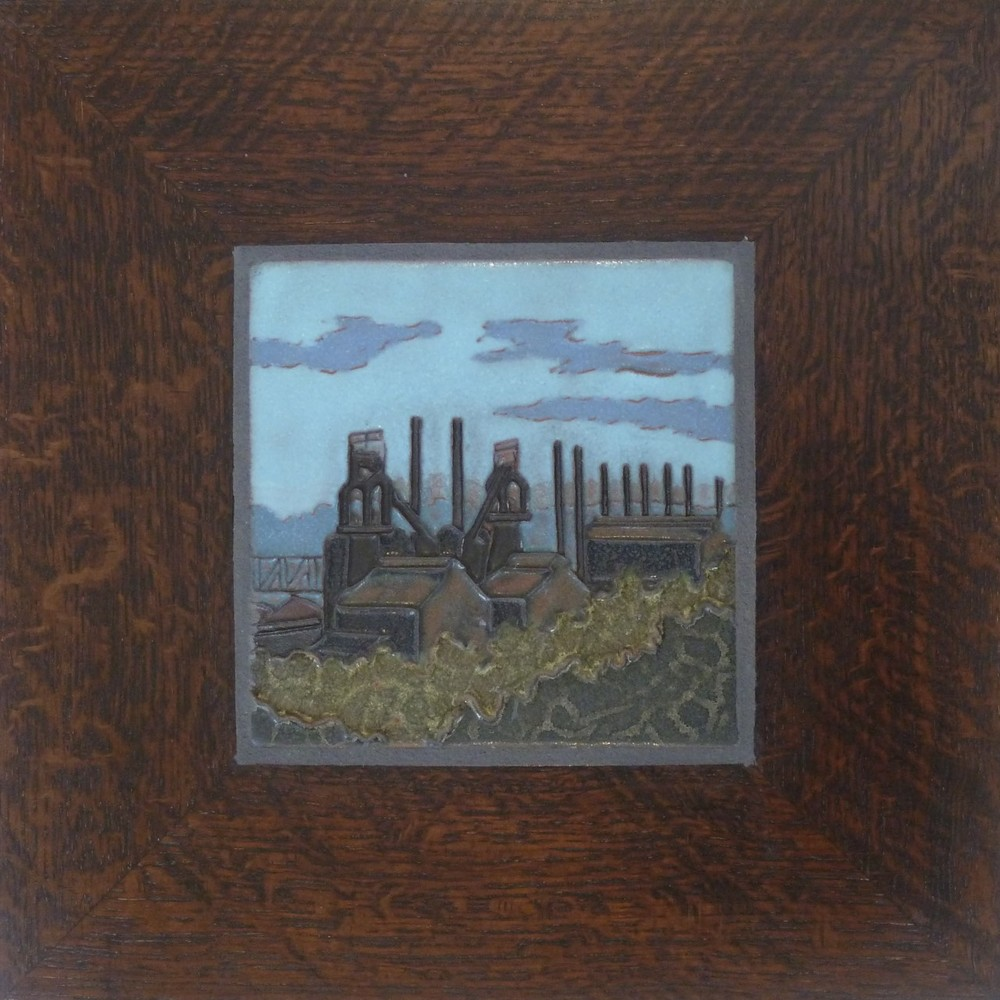 "Steel Mill, framed ceramic tile. 12""x12"". $275."