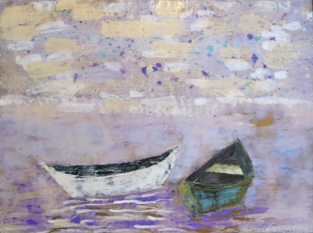 "Two Boats, encaustic on panel. Framed, 22""x28""."