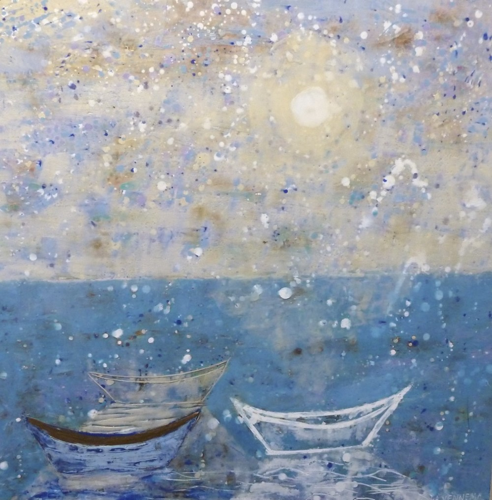"Three Dories with Moon Light, encaustic on panel. 30""x30"". $3,800."