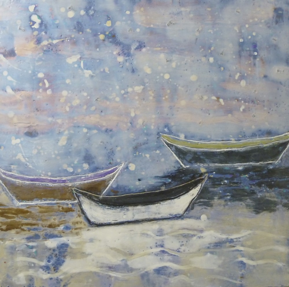 "Three Dories at Night, encaustic on panel. 16""x16""."