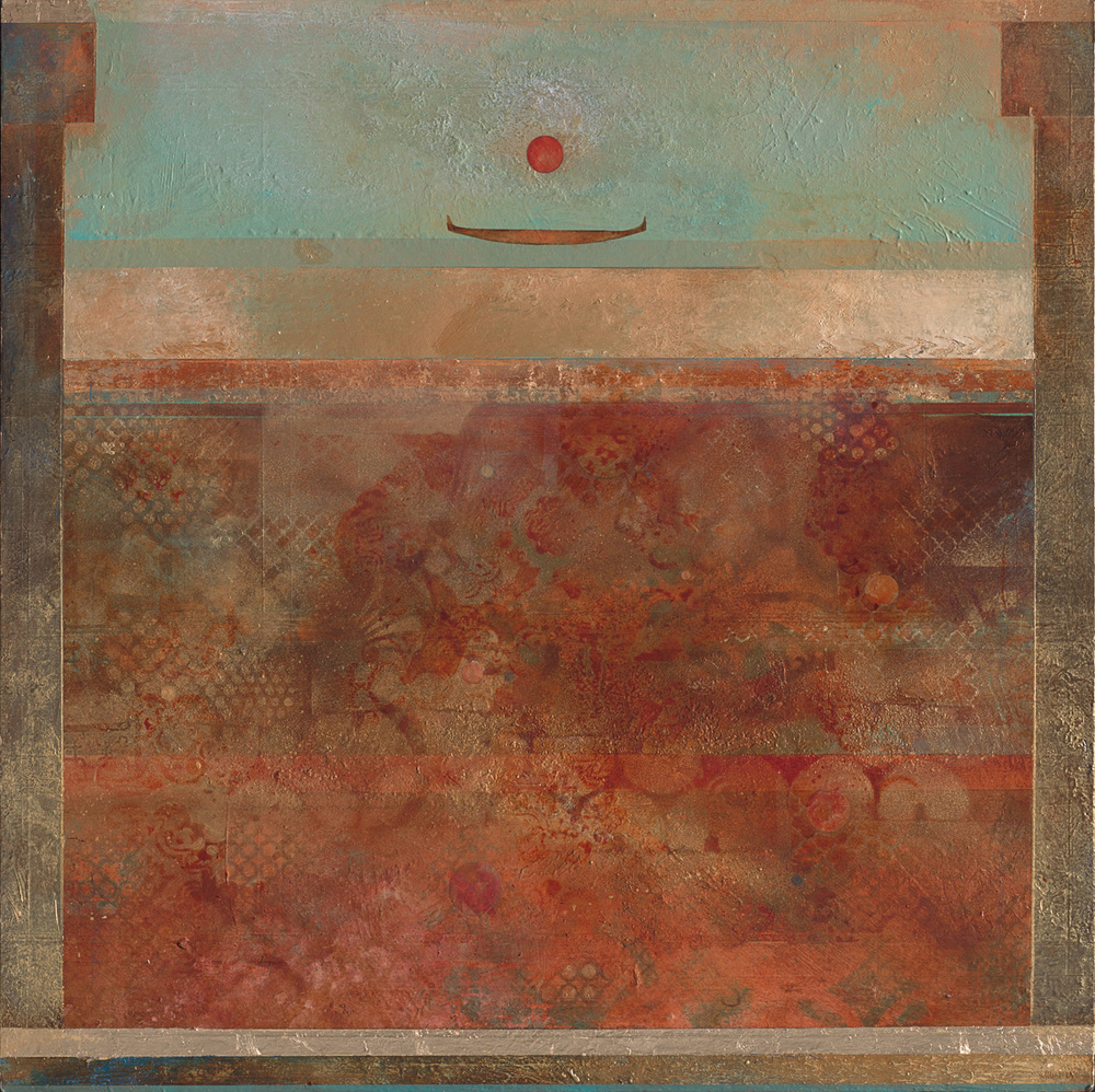 """Ancient Waters, mixed media acrylic on panel. 36""""x36"""". $4,500."""