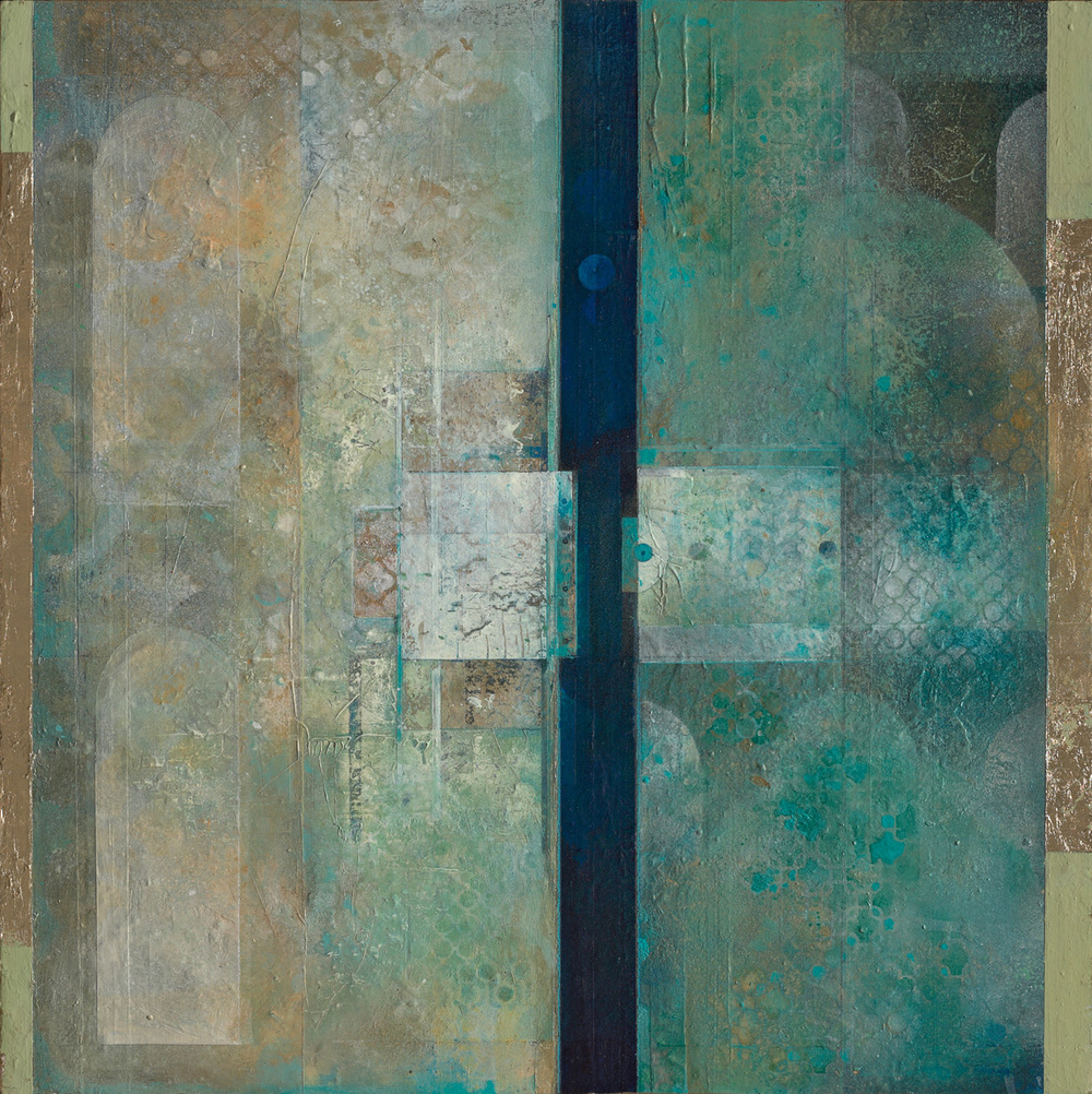 "Gates To, mixed media acrylic on panel. 30""x30"". $3,800."