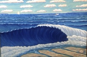 Wave and Conch Shell, oil on canvas, 24x36.